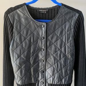 BCBGMaxAzria black leather wool jacket L